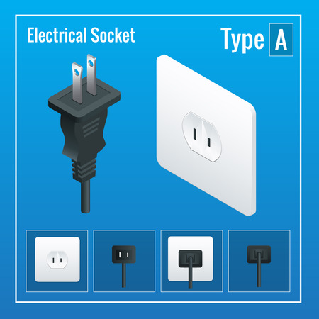 sockets: Isometric Switches and sockets set. Type A. AC power sockets realistic illustration. Power outlet and socket isolated. Plug socket