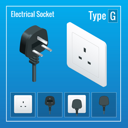 sockets: Isometric Switches and sockets set. Type G. AC power sockets realistic illustration. Power outlet and socket isolated. Plug socket Illustration