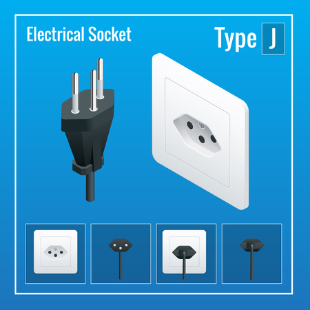 Isometric Switches and sockets set. Type J. AC power sockets realistic illustration. Power outlet and socket isolated. Plug socket Illustration