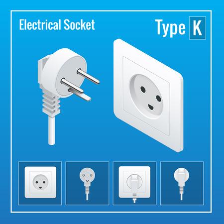 Interrupteurs et prises isométriques réglées. Tapez les prises de courant K. AC illustration réaliste. Prise de courant et la douille isolée. Prise de courant Vecteurs