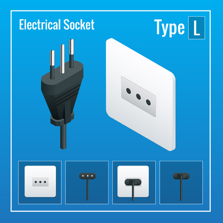 plug socket: Isometric Switches and sockets set. Type L. AC power sockets realistic illustration. Power outlet and socket isolated. Plug socket Illustration