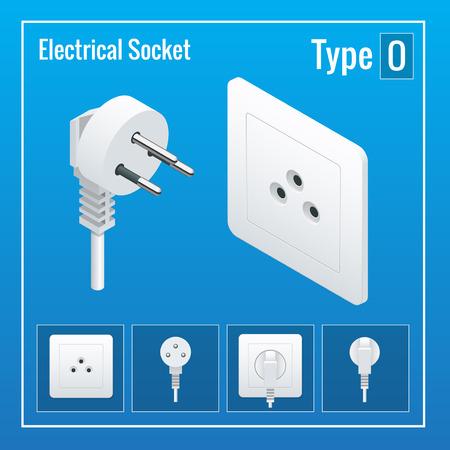 sockets: Isometric Switches and sockets set. Type O. AC power sockets realistic illustration. Power outlet and socket isolated. Plug socket Illustration