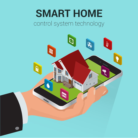 centralized: Flat design style modern vector illustration concept of smart home control technology system with centralized control of lighting, heating, ventilation and air conditioning, security and video.