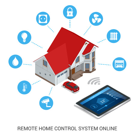vecteur moderne illustration plat style design concept de système intelligent de la technologie de contrôle de la maison avec un contrôle centralisé de l'éclairage, le chauffage, la ventilation et la climatisation, la sécurité et la vidéo.