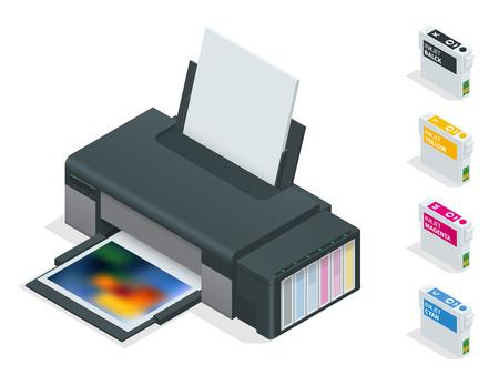 Photo inkjet printer. Color printer prints photo on white isolated background. Four empty refillable cartridges Illustration