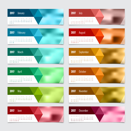 yearly: Calendar for 2017 year. Vector design stationery template. Flat style color vector illustration. Yearly calendar template.
