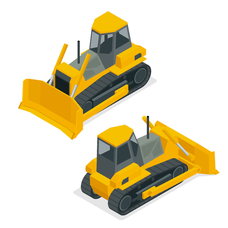 bases: Isometric dozer or bulldozer. Set of the construction machinery vehicles.Continuous tracked tractor for mines, quarries, military bases, heavy industry factories, engineering projects, farms.
