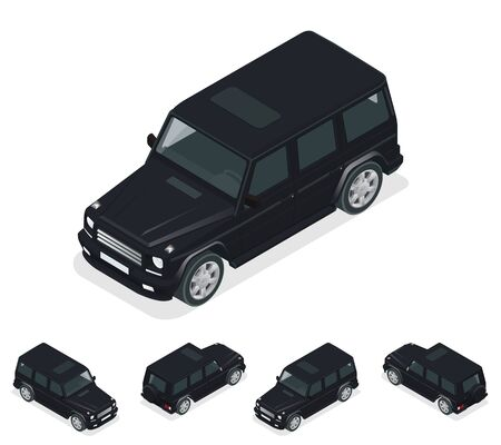 cross country: Isometric Black VIP Car. Cross country vehicle. Mid-size four-wheel drive luxury SUV. Flat 3d high quality city transport icon set