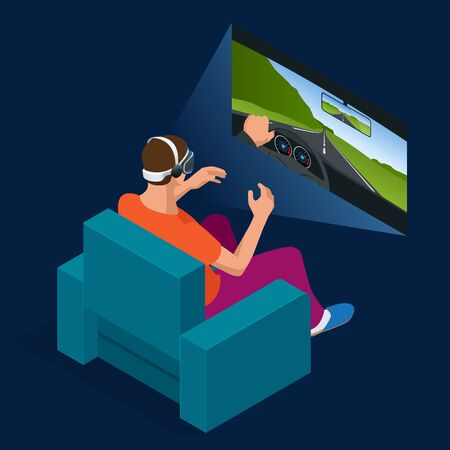 virtual reality simulator: Young man is playing racing video game in 3D virtual reality simulator using headset. Flat 3d isometric illustration. Driving car in virtual reality. Glass and gaming cyber application innovation.