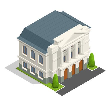 Vector sindacato isometrica architettura costruzione edifici governativi pubblico.