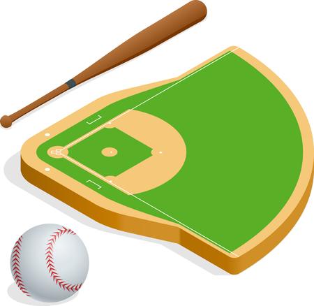 infield: Isometric elements baseball set.