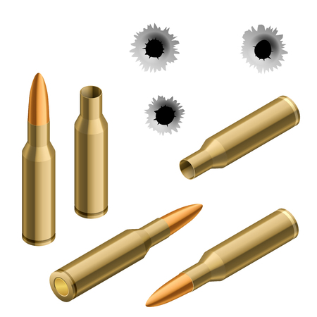 gun holes: Isometric shot gun bullets and bullet holes isolated on white background. Ammunition, guns, military illustration.