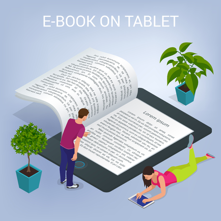 等尺性の電子書籍のコンセプト。大学のコンピューター教室。オンライン教育と学生と図書館。平面ベクトルの 3 d 図