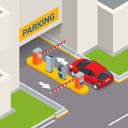 Isometric Parking payment station, access control concept. Parking ticket machines and barrier gate arm operators are installed at the entrance and exit of parking area as tools to charge parking fee.