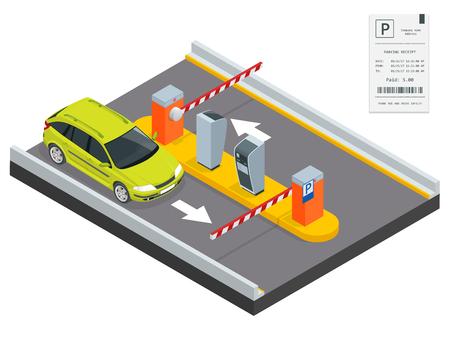 Isometrica Parcheggio stazione di pagamento, l'accesso concetto di comando. distributori automatici di biglietti di parcheggio e gli operatori del braccio cancello della barriera sono installate all'ingresso e all'uscita del parcheggio come strumenti per caricare parcheggio a pagamento.