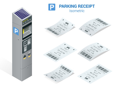 Isometric set of Parking tickets and carking meter. Flat illustration icon for web