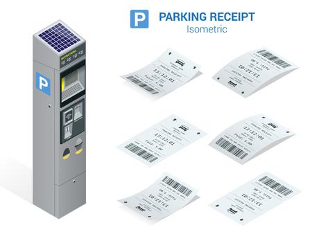 Conjunto isométrico de billetes de estacionamiento y medidor de carking. Icono de ilustración plana para la web