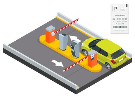 Isometrische Parking betaling station, toegangscontrole concept. Parkeren kaartautomaten en slagbomen arm operatoren zijn geïnstalleerd bij de ingang en uitgang van het parkeerterrein als instrumenten om parkeergeld te laden.