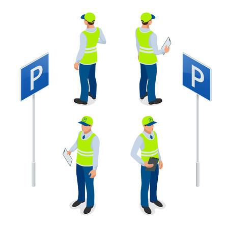 Isometrica Addetto al parcheggio. vigilessa, ottenendo biglietto del parcheggio o biglietto di parcheggio mandato bene. Piatto illustrazione 3D Vettoriali
