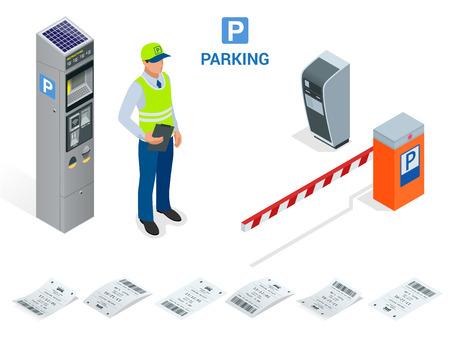 Asistente de aparcamiento isométrica. máquinas expendedoras de billetes de aparcamiento y operadores del brazo de puerta de barrera se instalan en la entrada y salida de zona de aparcamiento como herramientas para cobrar tarifa de aparcamiento. Foto de archivo - 69401747