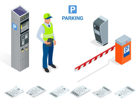 Isometrische parkeerwachten. Parkeerkaartautomaten en slagboomarmoperatoren worden bij de in- en uitgang van de parkeergarage geïnstalleerd als gereedschap om parkeertarieven in rekening te brengen.