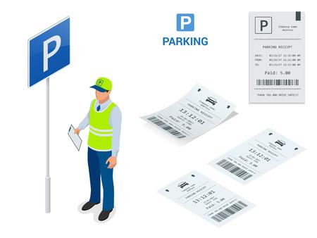 等尺性駐車場係員。駐車券の機械と障壁ゲート オペレーターは、駐車場料金を請求するためのツールとしての駐車場の出入りでインストールされま  イラスト・ベクター素材