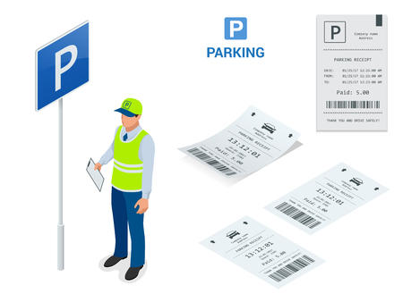 traffic warden: Isometric Parking Attendant. Parking ticket machines and barrier gate arm operators are installed at the entrance and exit of parking area as tools to charge parking fee.