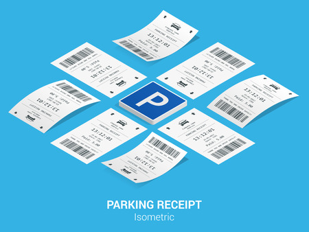 Isometric set of Parking tickets. Flat illustration icon for web