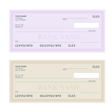 Cheque bancario con un diseño moderno. ilustración plana. libreta de cheques en el fondo de color. cheque bancario con la pluma. Ilustración del concepto de pago, pago, comprar. Foto de archivo - 70180098