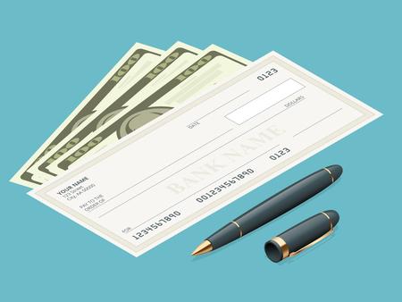 Bank controleren met een modern design. Flat illustratie. Cheque boek op gekleurde achtergrond. Bankcheque met pen. Concept illustratie betalen, betaling, kopen. Stockfoto