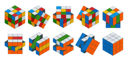 rubik: Isometric cube toy puzzle, 3x3 square. Rubiks cube on a white background. This famous cube puzzle was invented by the architect Erno Rubik in 1974