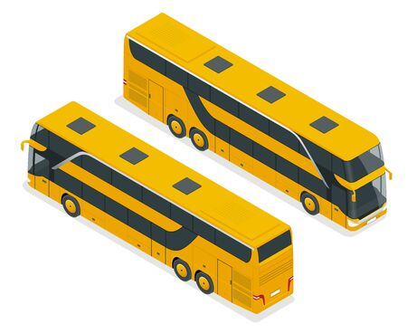 Isometric Double Decker Bus or intercity. Urban transport. For infographics and design games.