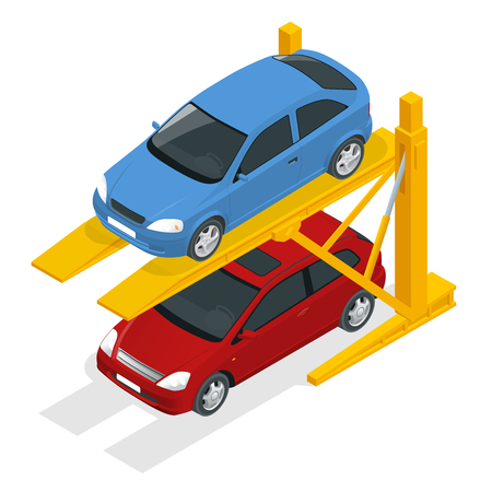 Isometric Hydraulic lifts for the car in the underground parking.
