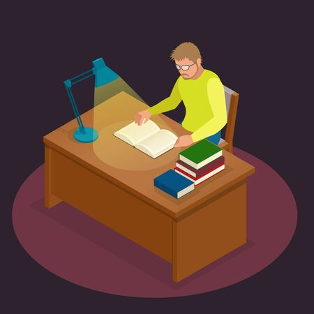 evening newspaper: Education and school, study and literature. Flat isometric young man sitting in the library and reading a book, journal or magazine. Flat style vector illustration.