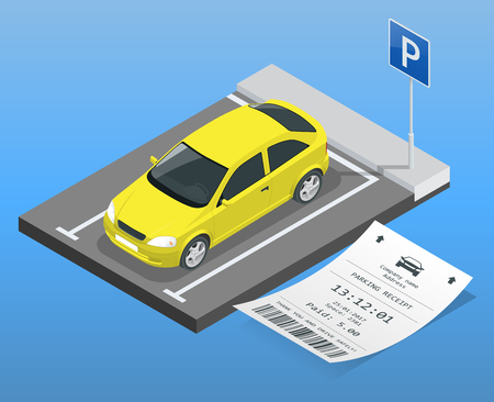 Isometric vector illustration Car in the parking lot and Parking tickets. Flat illustration icon for web. Urban transport. parking space Vectores