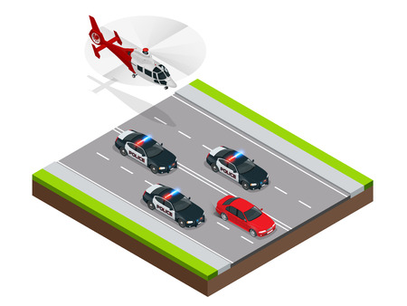Police in pursuit of a criminal with a stolen car or drunk driving, speeding. Isometric Police Chase illustration concept. Law enforcement speeding after criminal. Illustration