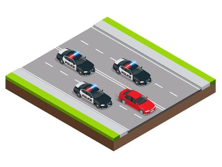 La police à la poursuite d'un criminel avec une voiture volée ou alcool au volant, excès de vitesse. illustration concept isométriques Police Chase. la vitesse d'application de la loi après pénale. Vecteurs