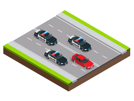 pursuit: Police in pursuit of a criminal with a stolen car or drunk driving, speeding. Isometric Police Chase illustration concept. Law enforcement speeding after criminal. Illustration