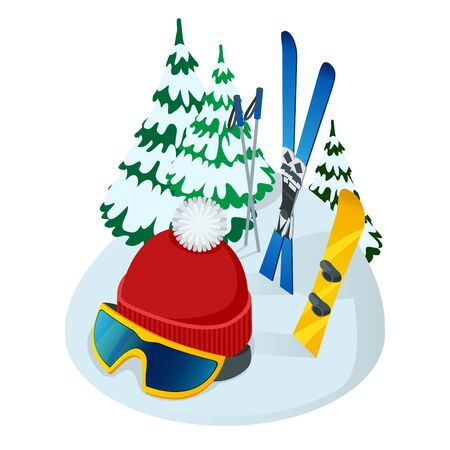 Vector illustration of helmet and skis and Christmas tree on white background. It may be used art design for web, site, advertising, banner, poster, board and print.