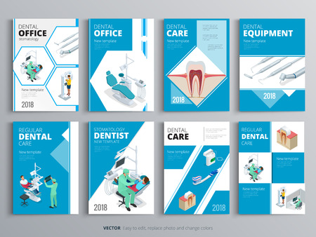 Flyers for Health and Medical concept. Hygiene template of flyear, magazines, posters, book cover, banners. Clinic infographic concept background. Layout dentistry illustrations modern pages Ilustração