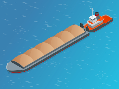 sea tanker ship: Isometric Barge on a River. Very large ship. Containerized trade, liquid bulk and dry bulk shipping. International shipping.