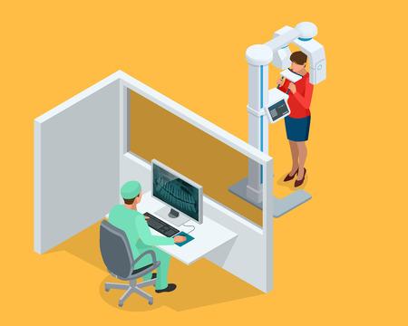 Isometrische Detail Dental Panoramic Radiograph apparatuur, arts en vrouw geïsoleerd op wit.