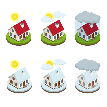 fallen: House business service isometric icons template. Concept security of property. Protection from danger, providing security. Vector isometric illustration flat design. House icons