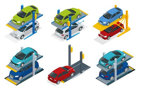 Isometric Hydraulic lifts for the car in the  parking. Flat vector Multi-level parking.