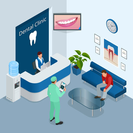 Isometric Modern dental practice. Dental chair and other accessories used by dentists in blue, medic, reception, detail dental panoramic radiograph equipment. Flat vector concept Illustration