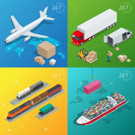 multimodal: Flat style vector illustration delivery service concept. International delivery and worldwide postage. On-time delivery. Emailing and online shopping. Flat 3d isometric vector illustration