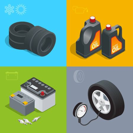 grease paint: Tire service car auto, repair icons flat set isolated vector isometric illustration. Consumables for car. Illustration