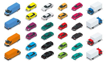 車アイコン。3次元等尺性の高品質の市内交通機関をフラットします。セダン、バン、トラック、ハッチバック。都市公共の貨物輸送セット