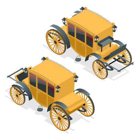 brougham: Isometric retro Coaches, Brougham icon. Flat illustration of brougham vector. Isolated on white Illustration