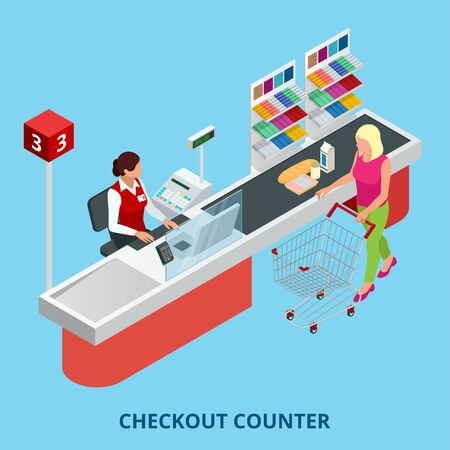 Isometric Checkout counter. Woman paying with a credit card to a store clerk in a supermarket. Quality service and supermarket web banner.